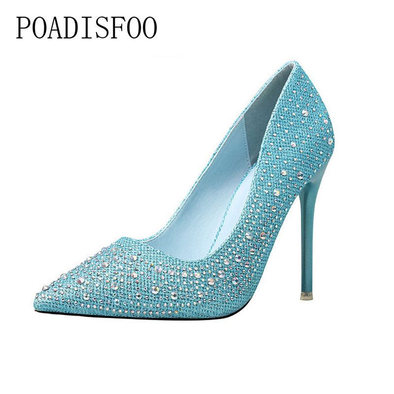 POADISFOO Women's Party Wedding Thin Heels Super high heel Pumps 10cm Pointed Toe Crystal Rhinestone Elegant women pumps.ZWM-305 cicime women s heels thin heel spikes heels solid slip on wedding fashion leisure casual party dressing high heel platform pumps
