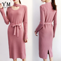 YuooMuoo New Sweater Dress Autumn Stand Collar Hollow Out Knitted Dress Pink Women Dress Casual Streetwear Korean Fall Dress
