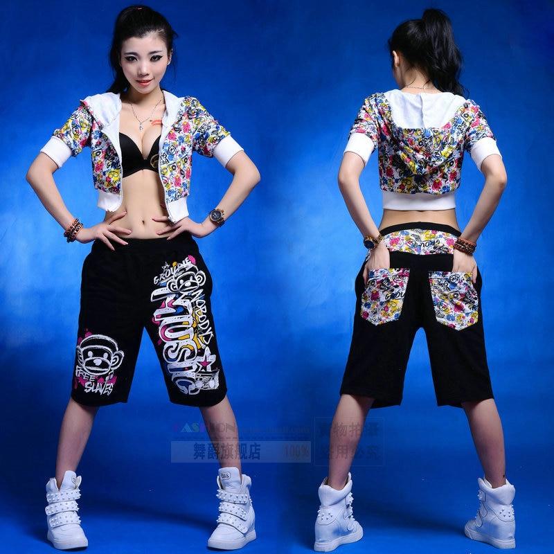 2014 New fashion Summer thin Hip hop harem trousers Pockets capris loose monkey pattern Black patchwork dance pants