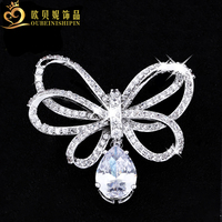 Obn micro pave aaa cz wassertropfen strass band bowknot brosche für frauen bow revers pin