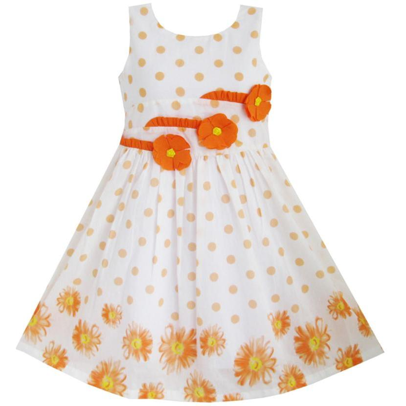 Sunny Fashion Girls Dress Orange 3 Sunflower Party Birthday Children Clothing Cotton 201 ...