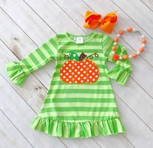 baby girls Halloween pumpkin dress girls Halloween stripe ruffle dress Halloween party dress long sleeve with accessories
