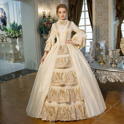 100%real champagne bowknot venice carnival ball gown Medieval ...