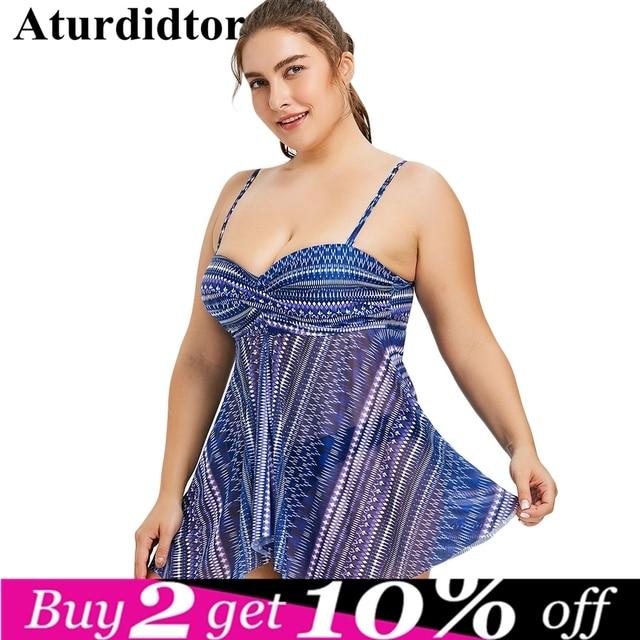 2bf84df6b2bd2 Plus Size Tankini Set Beach Dress With Brief Geometric Front Slit Underwire  Push Up Bathing Suit Large Swimwear Women Swim Wear