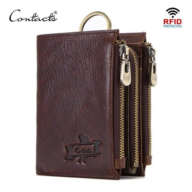 CONTACT'S 100% cow leather men's wallet RFID male portmane short cuzdan mens card holders coin purse cartera hombre man's walet