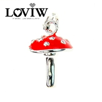 Lucky Red Mushroom Charm Women style High Quality Silver Charm Party Bijoux For Ladies DIY Accessories NEW Gift Jewelry