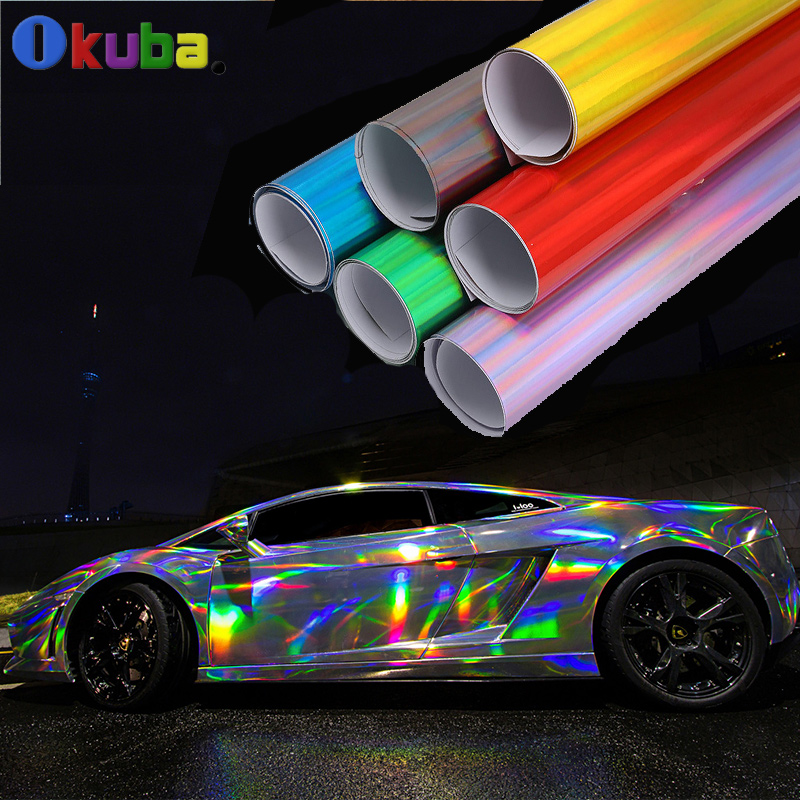 New Arrival Laser Plating Vinyl Hologram Full Body Car Sticker with Air Bubble Free Pvc Rainbow Film 1.42x20m/roll