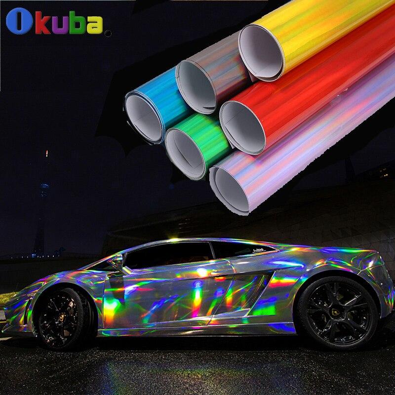 Nouveauté autocollant de voiture de corps d'hologramme de vinyle de placage de Laser avec le Film d'arc-en-ciel de Pvc libre de bulle d'air 1.42x20 m/roll