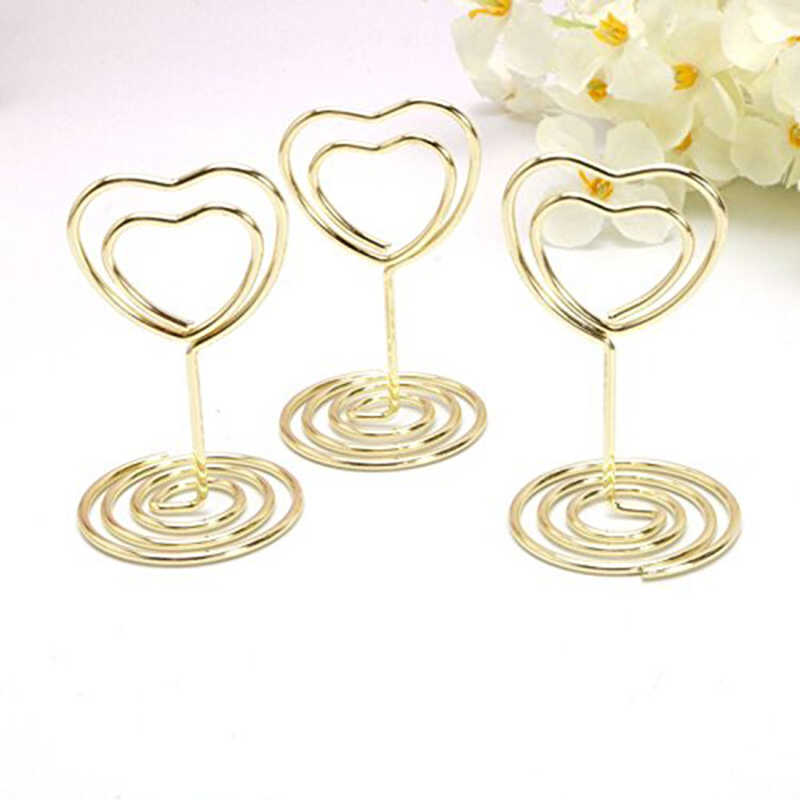 Mini Heart Shape Place Card Memo Holder Picture Stand Note Clip for Wedding Party Decoration Pack 10pcs (Gold)