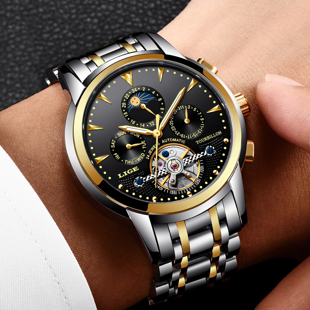 2019LIGE Men Watch Automatic Mechanical Watches Golden Brand Luxury Business Full Steel Waterproof Sport Clock Relogio Masculino2019LIGE Men Watch Automatic Mechanical Watches Golden Brand Luxury Business Full Steel Waterproof Sport Clock Relogio Masculino