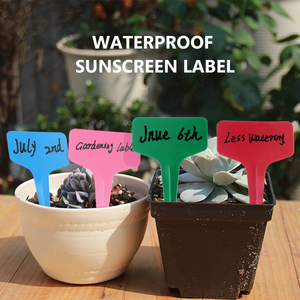 Image 5 - 50/100/300pcs Plastic T type Plant Marker Labels Colored White Blank Labels For Nursery Garden Plant With Marker Pen