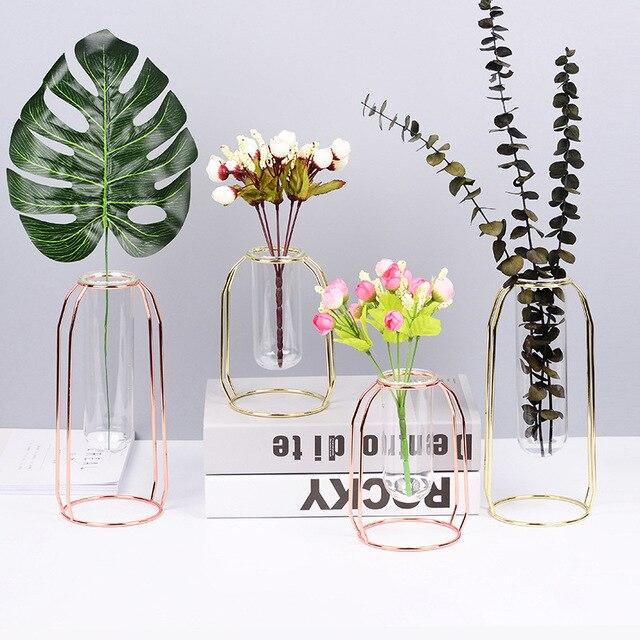 Golden Iron Frame Tabletop Glass Test Tube Vase Flower Stand Nordic