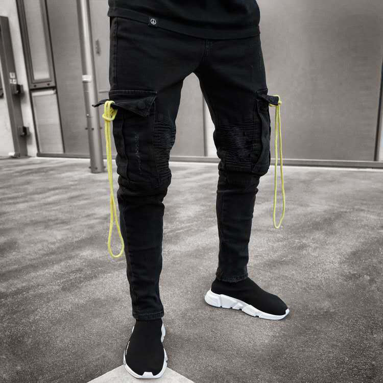 Fashion Men   Jeans   Hip Hop Cool Streetwear Biker Multi Pockets Black Skinny   Jeans   Slim Fit Mens Clothes Pencil   Jeans