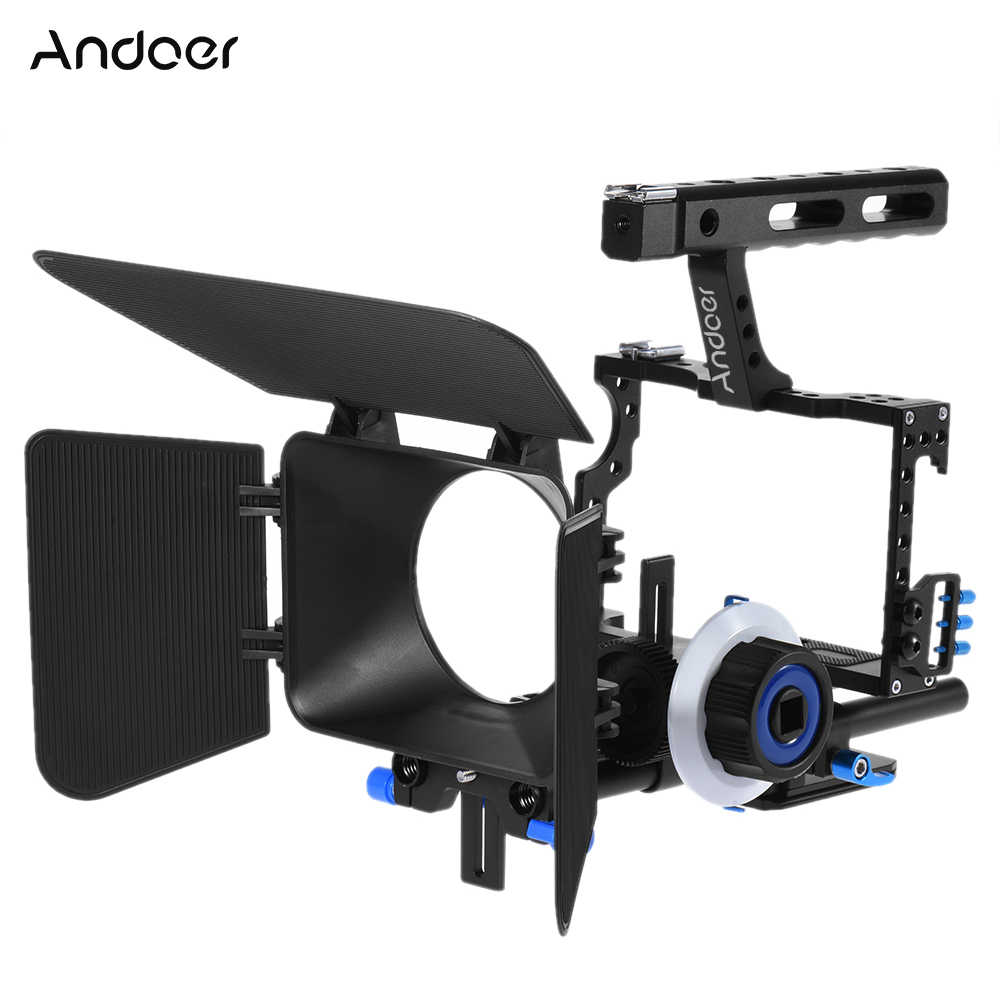Andoer C500 Camera Camcorder Video Kooi Rig Kit Matte Box + Follow Focus + Handvat Grip Voor GH4 Sony A7S/A7/A7R Ildc Camera