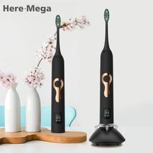 Купить с кэшбэком Here Mega Sonic Electric Toothbrush Ultrasonic Whitening Teeth Vibrator Tooth Brush Dental Care Oral Hygiene Washable LCD Screen