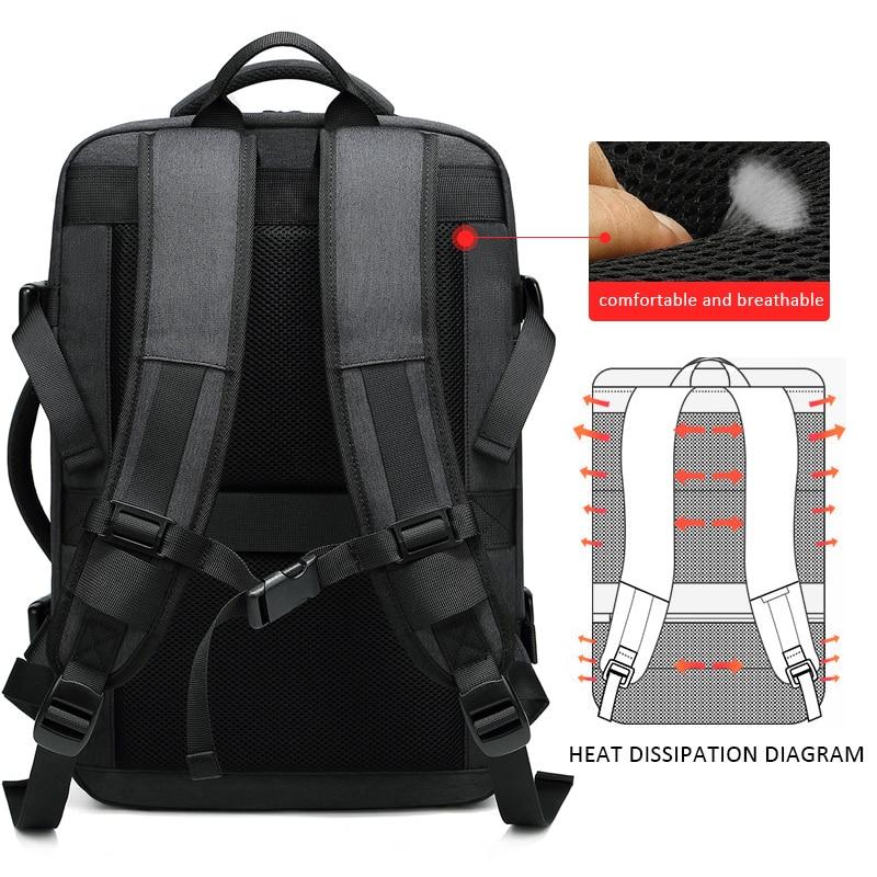 EURCOOL 2019 nouveau voyage sac à dos hommes extensible 12cm multifonctionnel sac Fit 15.6 pouces sacs à dos d'ordinateur portable mâle Mochila n1811-7 - 6