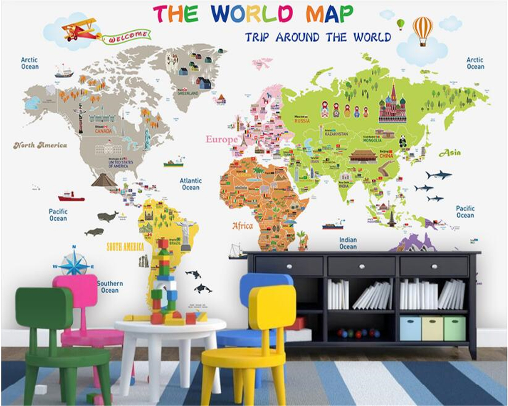 beibehang Senior interior decoration painting aesthetic personality silk cloth papel de parede 3d wallpaper world map background