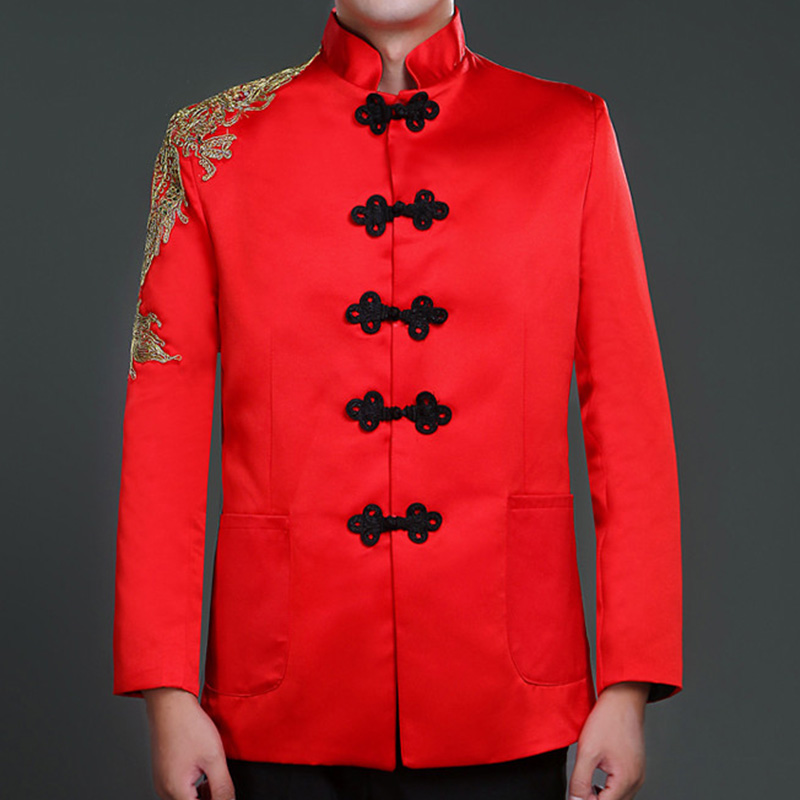 b65425646 Mens Mandarin Collar Suit Jacket Sequin Jackets Chinese Knots Frog Closure  Wedding Jacket Embroidery Red Tang Suit Jacket-in Suit Jackets from Men's  ...