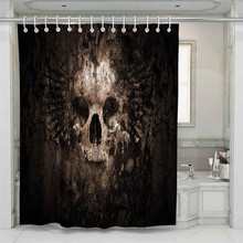 3D Skull Beach Shower Curtain Bathroom Waterproof Polyester Printing Curtains for