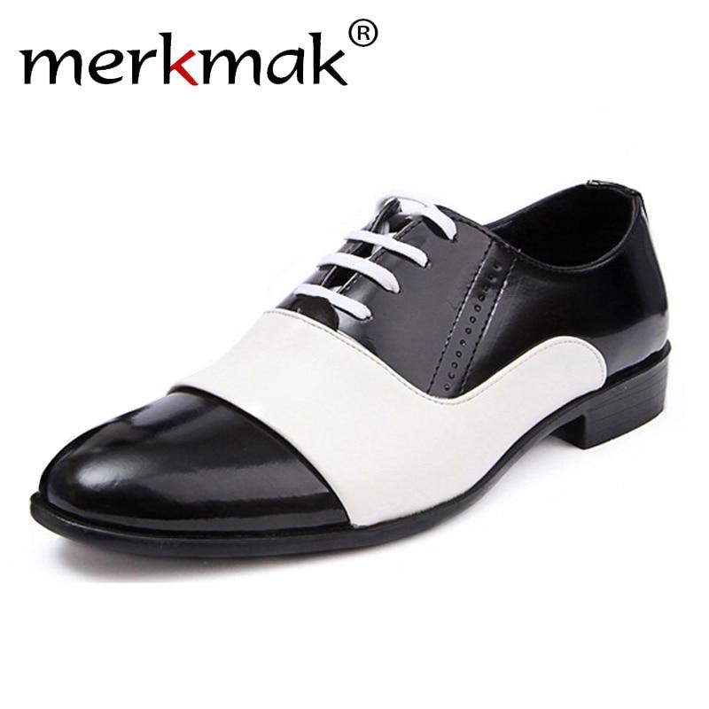 ec1c018e Comprar 2018 nueva primavera y otoño de los hombres de la moda Zapatos de  charol de cuero de los hombres zapatos de vestir de blanco negro hombre de  cuero ...