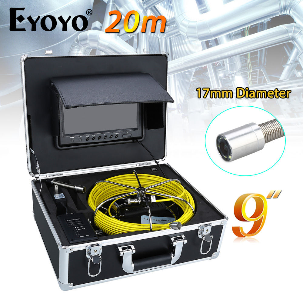 Eyoyo WP90B 20M 9LCD 17mm Wall Drain Sewer Pipe Line Inspection Camera System CCTV 1000TVL HD Snake Inspection Color Sun shield