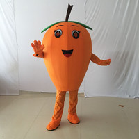 New Mascot Tasty Orange Loquat Mascot Costume Cartoon Character Mascotte Green Leaves Brown Stipe Apparel