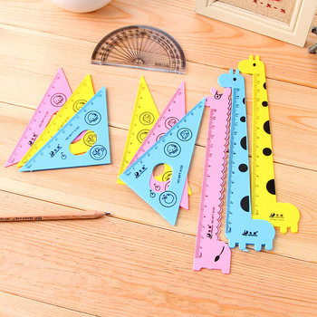 New Arrival ! Kawaii Ruler Set School Supplies Animal Cute Tools Stationary Creative Cartoon Students Shape - discount item  20% OFF Drafting Supplies