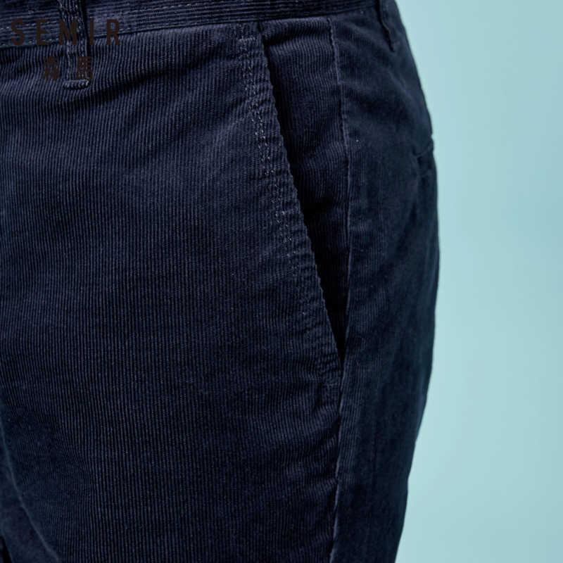 SEMIR erkekler Slim Fit kadife pantolon erkek kadife düz bacak pantolon uzun pantolon yan cepler ile Retro tarzı kış için