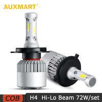 H4 Silver COB LED Car Headlight Bulbs Pure White 6500K 8000LM Driving Headlight All In One