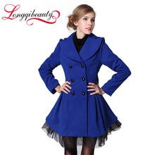 2016 Spring Autumn  Woolen Outerwear Coat Female Double Breasted Overcoat Women Long Sleeve Lace Patchwork White Trench Coat