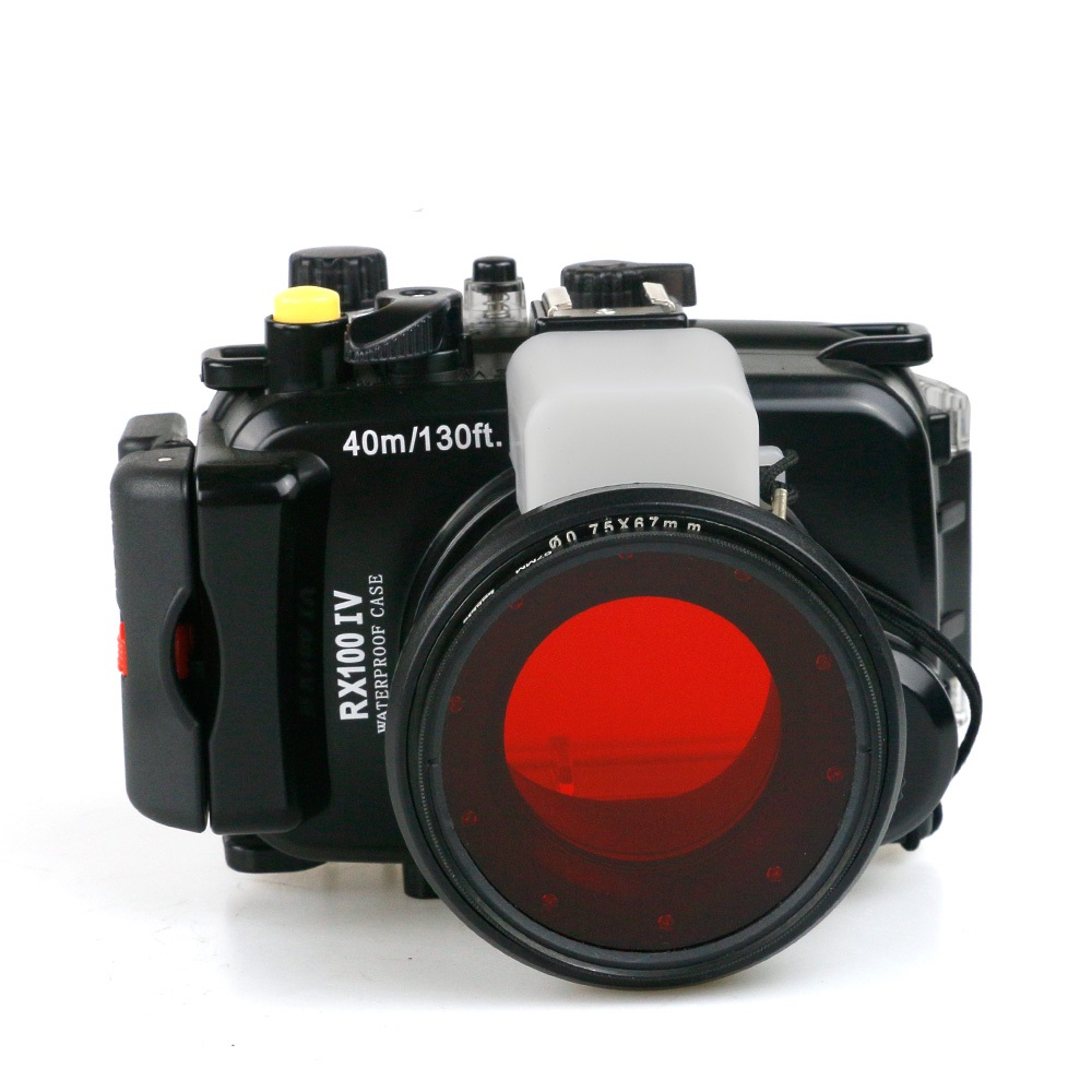 Para Sony DSC-RX100 Mark IV IV RX100IV RX100-IV M4 Mark 4 caso caixa da câmera subaquática à prova d' água + 67mm Mergulho Filtro vermelho