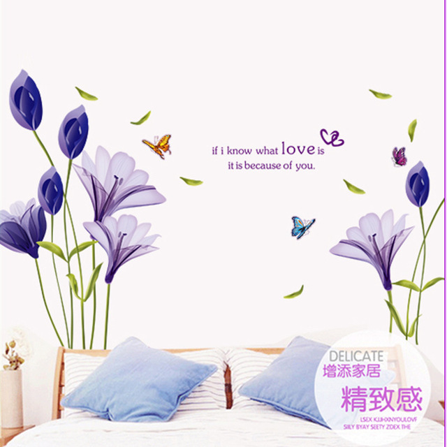 Bedroom Wall Decor Romantic online shop direct manufacturers ay9212 romantic purple lily