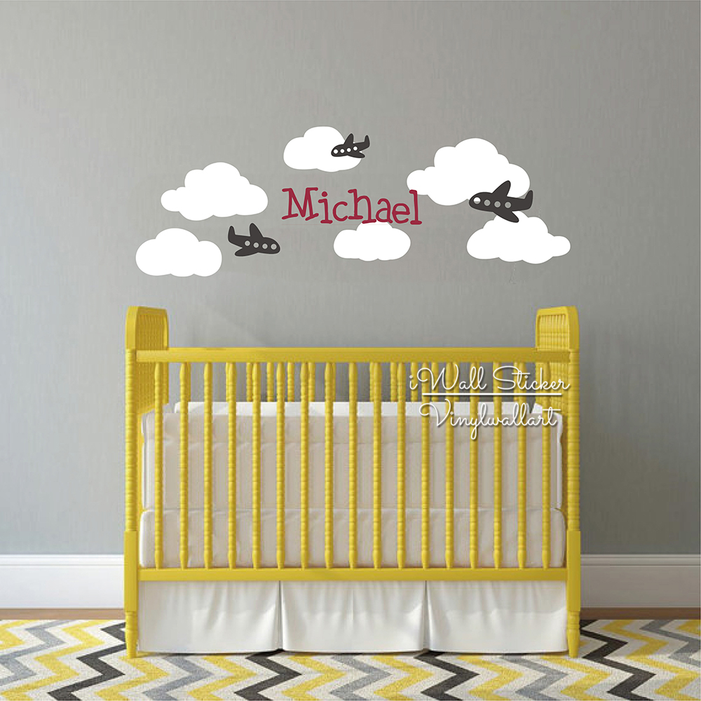 Airplane Name Wall Sticker Boys Name Wall Decal Clouds Children Room ...