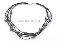 Nice FAB Multi Strands 10-11mm Black Freshwater Pearl on Black Leather Necklace