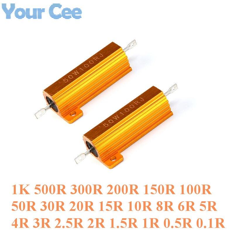 Купить со скидкой 2PC RX24 50W Watt Power Metal Shell Aluminium Gold Resistor 1K 500R 300R 200R 150R 100R 50R 30R 20R