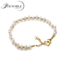 Multi layer Two rows small bracelet pearl women,boho real adjustable natural freshwater couple