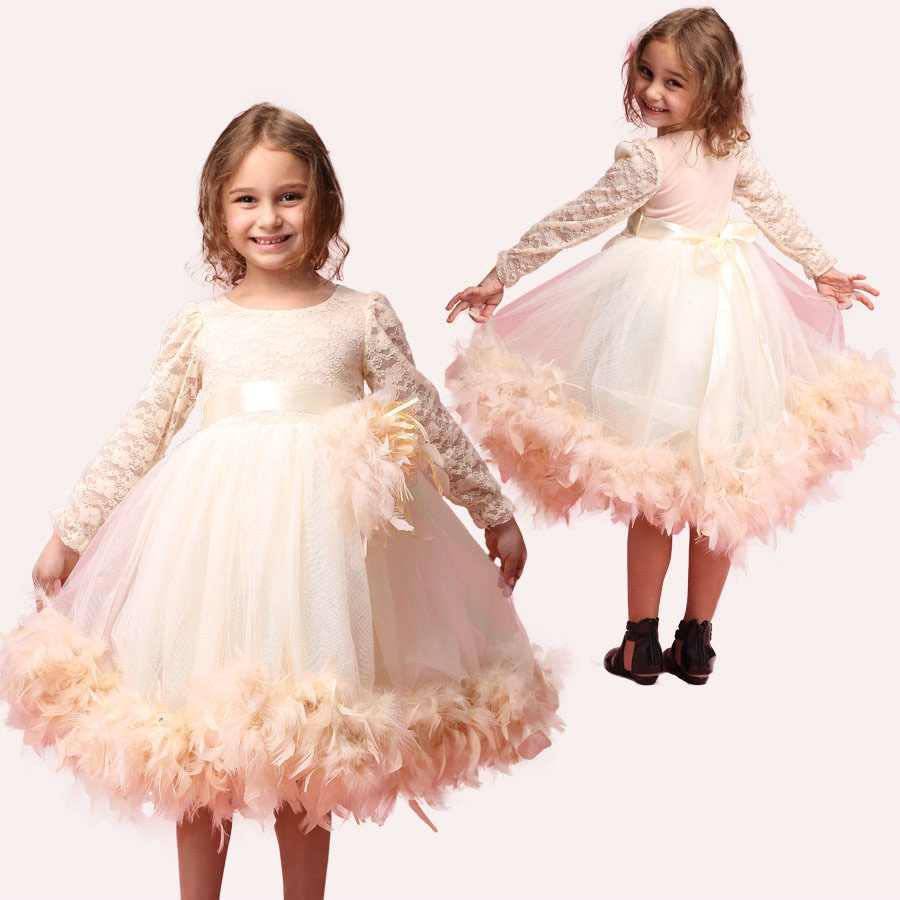 ФОТО fashion girls flower tutu long sleeve feather kids formal wedding party dress