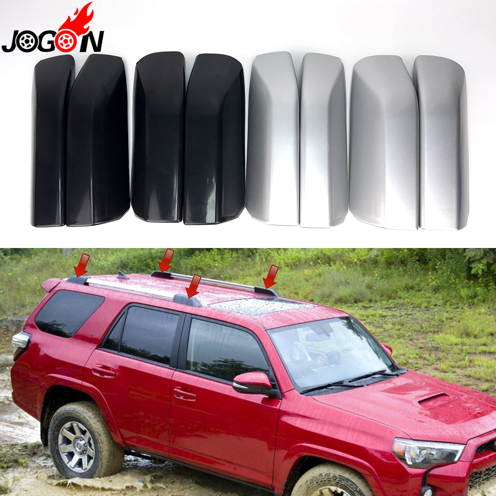 Silver & Black Plastic Roof Rack Bar Rail End Replacement Cover Shell 4P For Toyota <font><b>4Runner</b></font> N280 <font><b>2010</b></font> - 2018 2014 2015 2016 2017 image