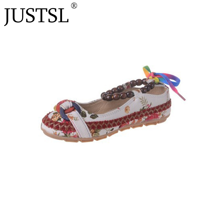 JUSTSL 2018 spring women;s Large size flats shoes beaded ethnic style embroidered shoes women female strap retro flats