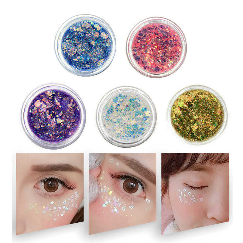 Eye Glitter Nail Hair Body Face Glitter Gel Art Flash Heart Loose Sequins Cream Festival Glitter Decoration Party Festival TSLM1