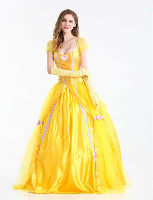0f3b70ea78b US $26.9 |2018 Fairy Tale Costume Women Halloween Cosplay Southern Beauty  And The Beast Adult Princess Belle Costume Yellow Long Dress-in Movie & TV  ...