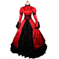 Red Victorian Party Dress 19 Century Period Theater Medieval Renaissance Dress Retro Steampunk Costumes Civil War Ball Gown