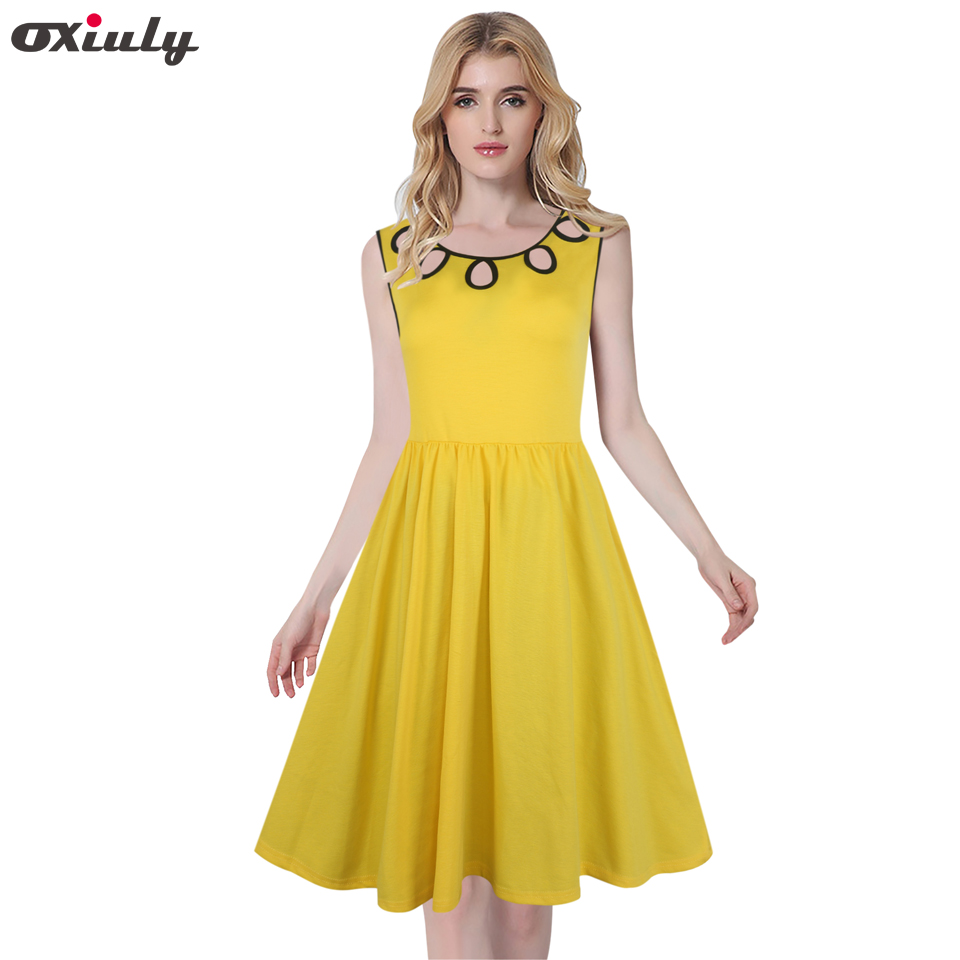 b3980fbf44d Oxiuly 3 Colors Plain Women Vintage Dresses Elegant Hollow Out Sleeveless  Party Tunic Solid Fit and Flare Dress-in Dresses from Women s Clothing on  ...