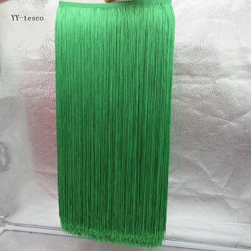 Wholesale 1 Yards 50cm Wide Fringe Trim Tassel Lace Green Fringe Trimming Lace For DIY Latin Dress Stage Clothes Accessories