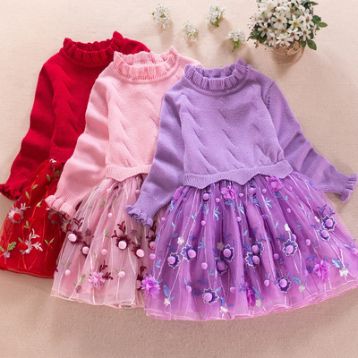 Autumn 2018 Fashion Thick Warm Girl Dresses Princess Knitted Winter Party Kids Sweater TuTu Dress Girl Clothes Children Clothing прихожая вш 4