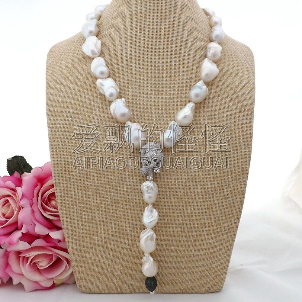 цены N090612 21'' White Keshi Pearl Necklace Cz Pendant