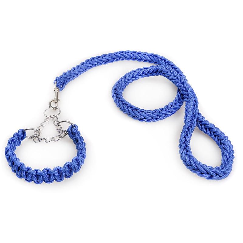 Pet Dog Collar Leash 3.5CM Nylon Eight Braid Large Rope Neck Shepherd for Dog Leashes Collars Set Golden Hair German Running L