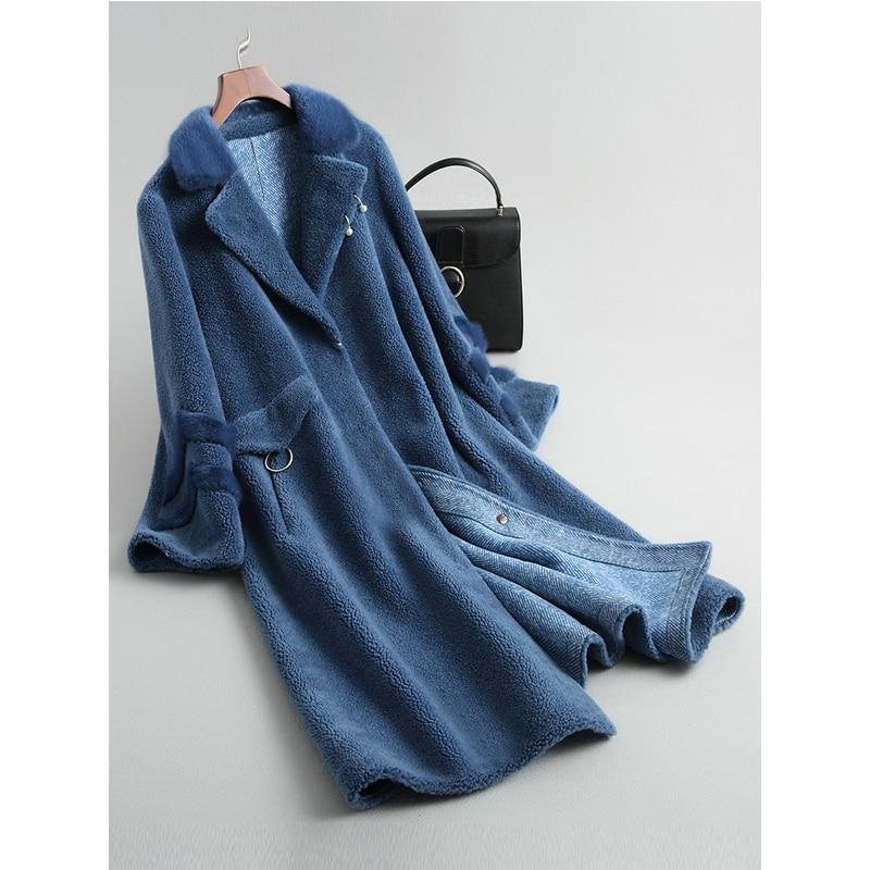 invierno lana de chaqueta de abrigo chaqueta pieles 100 Real de 7ABfzqw