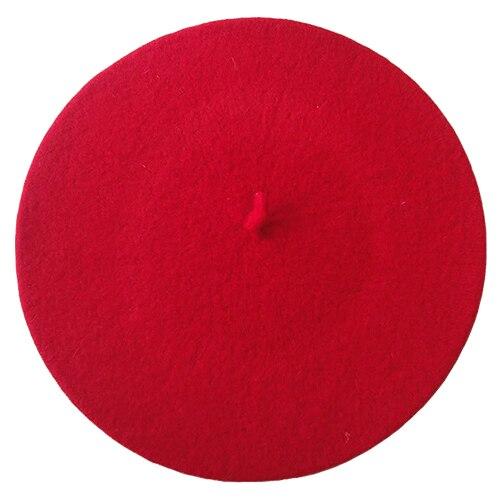 Одноцветный женский берет для девочек, французская художница, теплая шерстяная зимняя шапка, шапка 4XQT - Цвет: Красный