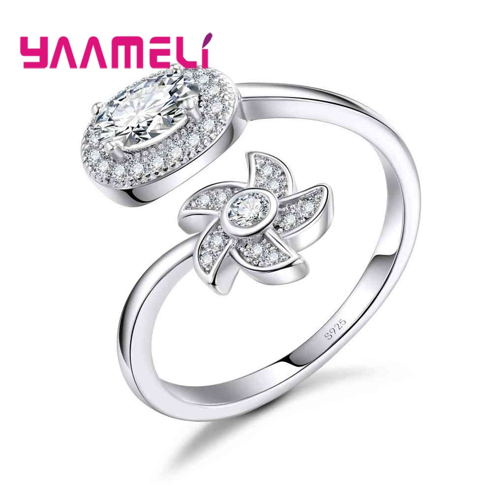 YAAMELI Factory Price Crystal Cubic Zirconia Opening Finger Rings For Ladies Girlfriend 925 Sterling Silver Crystal Jewelry Gift